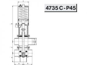 Схема седельного клапана передвижного пневматического (4735 C - P45)